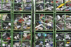 Electronic devices components waiting to be recycled in a container, on a recycling plant site. Pile of sorted electronic garbage.  royalty free stock image
