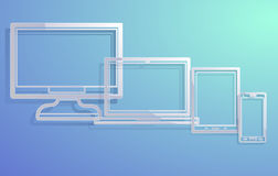 Electronic devices with empty screens Stock Photo