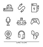 Electronic devices Icons. Gaming Accessories thin line vector royalty free illustration