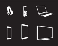 Electronic devices icons set. White on a black background Royalty Free Stock Photo