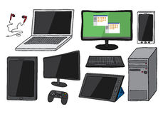 Electronic devices including computer, laptop, smart phone, tablets, keyboard, games controller and ear phones. Set of ten electronic devices including desktop Royalty Free Stock Photography