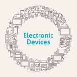 Electronic Devices Line Art Icons Set Circle Stock Images