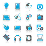 Electronic Devices objects icons Stock Images
