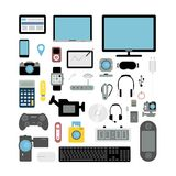 Electronic devices set. Royalty Free Stock Image