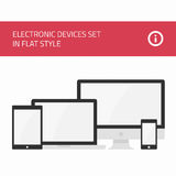 Electronic devices set flat style Stock Photos