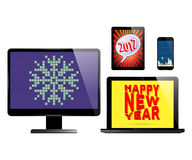 Electronic devices set. Smartphone, monitor PC computer, laptop and tablet with various holidays screen savers. Electronic devices isolated on white background Stock Photos