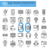 Electronic and Devices , thin line icons set Royalty Free Stock Images