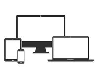 Electronic devices with white blank screens Stock Photo