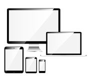 Electronic Devices with White Screens Stock Photo