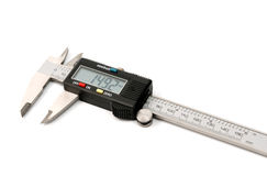 Electronic digital caliper. On white background. The precision tool Stock Photography