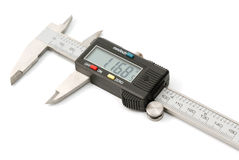 Electronic digital caliper. On white background. The precision tool royalty free stock photos