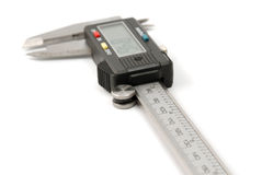 Electronic digital caliper. On white background. The precision tool stock image