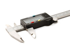 Electronic digital caliper. On white background. The precision tool royalty free stock images