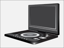 DVD PLAYER SAMPLE AT LIGHT BACKGROUND. Electronic digital device for viewing video files, images and listening to audio files Royalty Free Stock Images