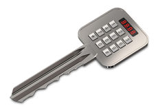 Electronic, digital key with a numeric keypad for entering the password. Stock Photo