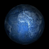 Electronic digital planet earth on a black background Royalty Free Stock Photos