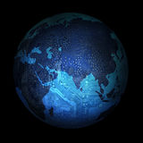 Electronic digital planet earth on a black background Stock Photo