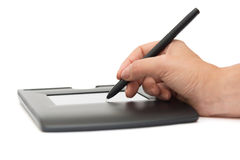 Electronic digital signature on pad. Digital signature on sign pad Royalty Free Stock Photography