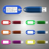 Electronic digital signature. USB flash drive. The information carrier. A set of six colors. Vector image Royalty Free Stock Photo