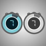 Electronic Digital Stopwatch 7 seconds. Isolated on gray background.Stopwatch icon set. Timer icon. Time check. Seconds timer, seconds counter. Timing device vector illustration