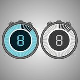 Electronic Digital Stopwatch 8 seconds. Isolated on gray background.Stopwatch icon set. Timer icon. Time check. Seconds timer, seconds counter. Timing device stock illustration