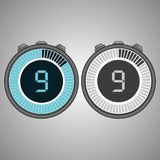 Electronic Digital Stopwatch 9 seconds. Isolated on gray background.Stopwatch icon set. Timer icon. Time check. Seconds timer, seconds counter. Timing device stock illustration