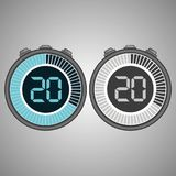 Electronic Digital Stopwatch 20 seconds. Electronic Digital Stopwatch. Timer 20 seconds isolated on gray background. Stopwatch icon set. Timer icon. Time check vector illustration