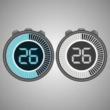 Electronic Digital Stopwatch 26 seconds. Electronic Digital Stopwatch. Timer 26 seconds isolated on gray background. Stopwatch icon set. Timer icon. Time check vector illustration