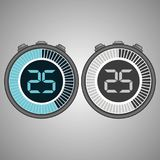Electronic Digital Stopwatch 25 seconds. Electronic Digital Stopwatch. Timer 25 seconds isolated on gray background. Stopwatch icon set. Timer icon. Time check Vector Illustration