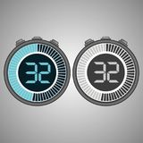 Electronic Digital Stopwatch 32 seconds. Electronic Digital Stopwatch. Timer 32 seconds isolated on gray background. Stopwatch icon set. Timer icon. Time check royalty free illustration