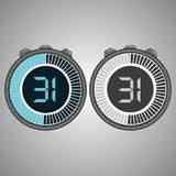 Electronic Digital Stopwatch 31 seconds. Electronic Digital Stopwatch. Timer 31 seconds isolated on gray background. Stopwatch icon set. Timer icon. Time check Stock Photos