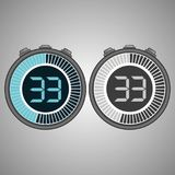 Electronic Digital Stopwatch 33 seconds. Electronic Digital Stopwatch. Timer 33 seconds isolated on gray background. Stopwatch icon set. Timer icon. Time check vector illustration