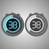 Electronic Digital Stopwatch 38 seconds. Electronic Digital Stopwatch. Timer 38 seconds isolated on gray background. Stopwatch icon set. Timer icon. Time check stock illustration