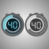 Electronic Digital Stopwatch 40 seconds. Electronic Digital Stopwatch. Timer 40 seconds isolated on gray background. Stopwatch icon set. Timer icon. Time check Stock Illustration