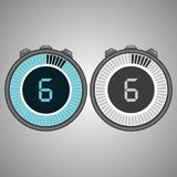 Electronic Digital Stopwatch 6 seconds. Isolated on gray background.Stopwatch icon set. Timer icon. Time check. Seconds timer, seconds counter. Timing device stock illustration