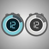 Electronic Digital Stopwatch 12 seconds. Isolated on gray background.Stopwatch icon set. Timer icon. Time check. Seconds timer, seconds counter. Timing device Stock Images