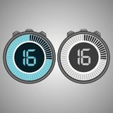Electronic Digital Stopwatch 16 seconds. Isolated on gray background.Stopwatch icon set. Timer icon. Time check. Seconds timer, seconds counter. Timing device Stock Photo