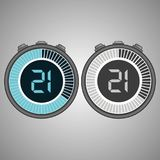 Electronic Digital Stopwatch 21 seconds. Electronic Digital Stopwatch. Timer 21 seconds isolated on gray background. Stopwatch icon set. Timer icon. Time check stock illustration
