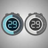 Electronic Digital Stopwatch 29 seconds. Electronic Digital Stopwatch. Timer 29 seconds isolated on gray background. Stopwatch icon set. Timer icon. Time check Stock Illustration