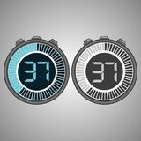Electronic Digital Stopwatch 37 seconds. Electronic Digital Stopwatch. Timer 37 seconds isolated on gray background. Stopwatch icon set. Timer icon. Time check vector illustration