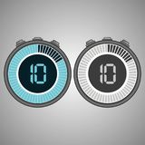 Electronic Digital Stopwatch. Timer 10 seconds isolated on gray background. Stopwatch icon set. Timer icon. Time check. Seconds timer, seconds counter. Timing Royalty Free Illustration