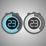 Electronic Digital Stopwatch 23 seconds. Electronic Digital Stopwatch. Timer 23 seconds isolated on gray background. Stopwatch icon set. Timer icon. Time check Stock Illustration