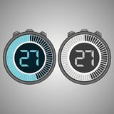 Electronic Digital Stopwatch 27 seconds. Electronic Digital Stopwatch. Timer 27 seconds isolated on gray background. Stopwatch icon set. Timer icon. Time check Stock Illustration