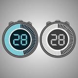 Electronic Digital Stopwatch 28 seconds. Electronic Digital Stopwatch. Timer 28 seconds isolated on gray background. Stopwatch icon set. Timer icon. Time check Vector Illustration