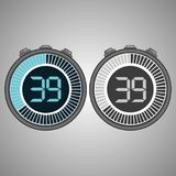 Electronic Digital Stopwatch 39 seconds. Electronic Digital Stopwatch. Timer 39 seconds isolated on gray background. Stopwatch icon set. Timer icon. Time check royalty free illustration