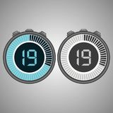Electronic Digital Stopwatch 19 seconds. Electronic Digital Stopwatch. Timer 19 seconds isolated on gray background. Stopwatch icon set. Timer icon. Time check Royalty Free Stock Photos