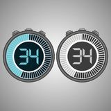 Electronic Digital Stopwatch 34 seconds. Electronic Digital Stopwatch. Timer 34 seconds isolated on gray background. Stopwatch icon set. Timer icon. Time check stock illustration