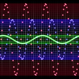 Electronic display. Tracking sound waves in different colors stock illustration