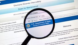 Electronic Diversity Visa Lottery official web site Stock Photo