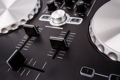 Electronic DJ Mixer close up Stock Photography
